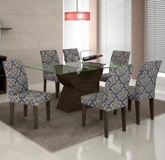 Deixe sua sala de jantar ainda mais sofisticada com este conjunto. Com tampo de vidro, acabamento rústico e estampas nas cadeiras, seu cômodo ficará muito mais bonito. ;)    #decoração #design #madeiramadeira