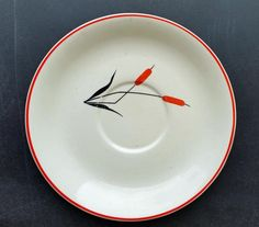 Set of 4 Vintage Cattail Red Pattern Saucers- Sears and Roebuck Co. 1940's #SearsandRoebuckCo