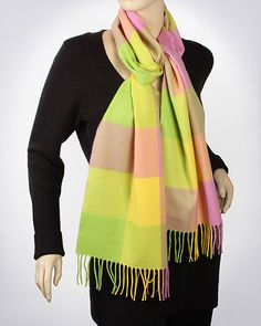 Cashmere Feel Woven Muffler: Block Check / PINK LIME