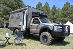 The Global Expedition Vehicles Turtle camper features a toilet, shower, sink, a dining area and pretty much all the accessories you'd find in a modern day on-road camper. The Turtle can be mounted to the chassis of a Ford F-450 or F-550, Ram 4500 or 5500, or one of several other medium-duty 4x4 trucks.