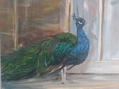This is an original acrylic artwork on canvas. With a copper underpainting peaking through creates a richness of colour Different Media, Beginner Painting, Peacock, My Etsy Shop, Unique Jewelry, Check, Artist, Animals, Vintage