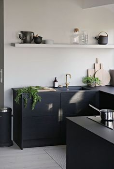 All black cabinets and counters. A floating shelf to spice up the mood, wicked!