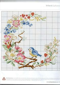 Cross stitch bird and flower wreath