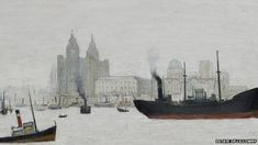 The 1959 painting shows Liverpool's landmark buildings on the River Mersey by LS Lowry
