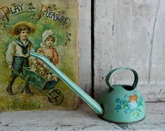 Vintage Toy Watering Can, Blue Tin Watering Can with Flowers, Ohio Art