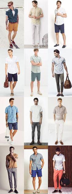 Men's Short Sleeve Shirts Summer Outfit Inspiration Lookbook: