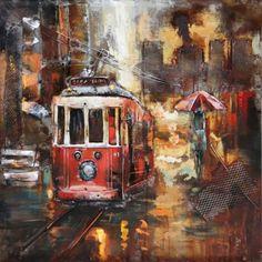 Een hele leuke 3D wanddecoratie met een afbeelding van een tram in een grote stad.De wanddecoratie is groot en zwaar.Hij is gemaakt van oud ijzer en heeft daarom ook een beetje vintage of een antiek uiterlijk.