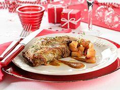 Cabrito asado con chutney de manzanas ¡Simplemente delicioso! :-P Carne Asada, Goats, Chicken, Food, Vegetables, Holiday Foods, Apple Chutney, Cooking Tips, Entrees