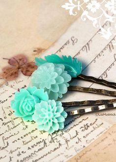 Mint Green Flower Bobby Pins. Floral Hair