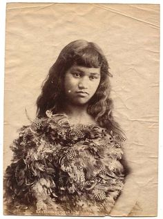 Maori girl in feather cloak