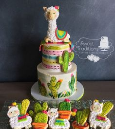 Llama - cake by Sweet Traditions Fondant Toppers, Fondant Cakes, Fiesta Cake, Llama Birthday, Birthday Cake, Cactus Cake, Salty Cake, Creative Cakes, Cupcake Cookies