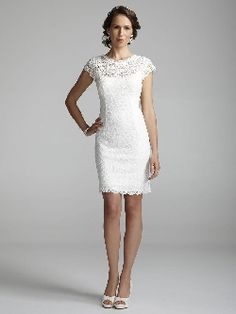 Davids Bridal Wedding Dress: Short Lace Cap Sleeve Dress with Exposed Zipper LOOOOOVE!!!  #davidsbridal #sash #aislestyle Enter the Aisle Style Sweeps for a chance to win up to $3,000 in gift certificates from David's Bridal & @Helzberg Diamonds Diamonds Diamonds Diamonds Diamonds!