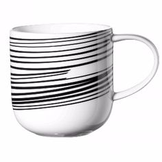 Asa  Horizontal Stripes Selection Coppa Mug: Horizontal stripes selection coppa mug. Translucent bone china with a simple line design. Generous size, great to drink from and as at home in a formal setting as for everyday use.
