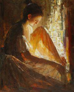Light from Window, oil by Zhiwei Tu  1951 Chinese
