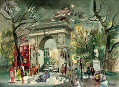 Washington Square, 1946, a California watercolor by Dong Kingman