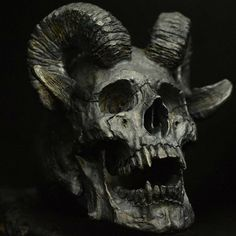 """Horned Beast"" Skull Rings Hand Carved by Demitri Bakogiorgis Owner of Into The Fire Jewelry intothefirejewelry.com #skull #skulls #skullring #skullrings #skullpendant #skullart #skullpainting #silverskullring #silverskullrings #skulljewelry #biker #bikerring #lanyard #humanskull #harley #vampire #tattoo #tattoos #rebel #fire #witch #goth #gothic #jewelry #silver #gold #bike #intothefirejewelry"