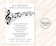 15 best music note invitations images on pinterest music lyrics music notes invitation musical party sheet music by pixieinkprints stopboris Choice Image
