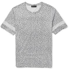 Calvin Klein Collection - Jido Printed Cotton-Jersey T-Shirt   MR PORTER Add a modern touch to your casual roster with Calvin Klein Collection's graphic T-shirt. Made in Italy from cotton-jersey, it's cut for a regular fit and finished with a marl-grey yoke and sleeve panels. Wear it to give tailoring a contemporary slant.