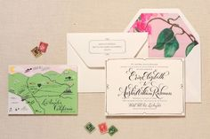 See the newest trends in wedding invites, programs and save-the-dates -- from gold foil to custom monograms. Illustrated Wedding Invitations, Wedding Invitation Trends, Wedding Stationary, Wedding Trends, Wedding Ideas, Invitation Ideas, Invite, Wedding Stuff, Wedding Inspiration