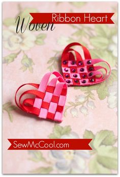 This woven ribbon heart from sewmccool.com can become a cute hair clip or part of a hair bow / hair bows!
