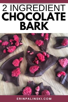 Dark chocolate bark is a simple easy treat. This 2 ingredient dessert uses just dark chocolate and freeze dried raspberries to create an antioxidant packed snack. Try this easy chocolate bark recipe today!
