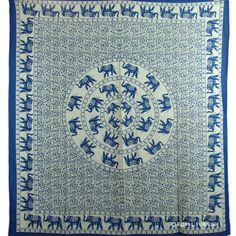 BLUE ELEPHANT MANDALA INDIAN TAPESTRY THROW WALL HANGING ROOM BEDSPREAD DECOR #Traditional