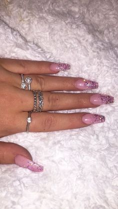 Faded glitter nails pink acrylic
