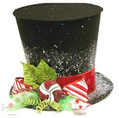 Items similar to The Peppermint King, Black Candy cane top hat, Christmas tree topper, Christmas table decoration New Monogram option on Etsy Black Christmas Tree Decorations, Black Christmas Trees, Candy Cane Christmas Tree, Christmas Tops, Noel Christmas, Christmas Tree Toppers, Christmas Crafts, Christmas Centrepieces, Christmas Tables