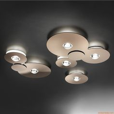 Bugia   Ceiling lamp made of metal and plexiglass in glossy copper colour, different sizes available
