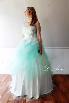 WATER Custom Made Tulle Flower Blue Beach Wedding Ball by LAmei, $640.00