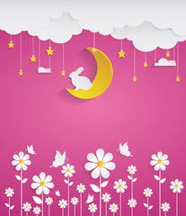 nighttime with flowers and pink background.paper art style