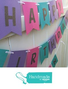 Hot Pink, Teal, Purple and Silver Glitter Happy Birthday Banner from Pretty lil Party http://www.amazon.com/dp/B017RNTCZ6/ref=hnd_sw_r_pi_awdo_jEvVwb1J2MBGX #handmadeatamazon