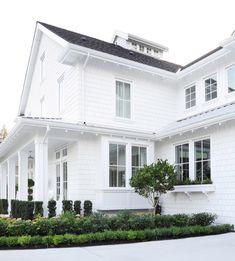 Little White House Co – Jettset Farmhouse White Farmhouse Exterior, White Exterior Houses, Cottage Exterior, House Paint Exterior, Exterior House Colors, White Houses, Exterior Design, Nantucket Style Homes, Little White House