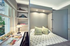 Transitional Bedroom by Sarah Fortescue Designs Design idea: Murphy bed in the home office. Why: A Murphy bed neatly folds away when not in use, providing room to use a desk and store home office necessities. When guests arrive, just tuck in your desk chair and pull down the bed. Extras: Seek out a Murphy bed with built-in storage or a fold-down desk on the other side.