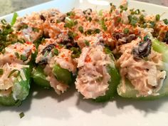 You can make easy, healthy snacks by using veggies instead of starch or grain. I stuffed celery sticks with chicken salad, but you can use anything, including almond butter, tuna, or hummus.  MarkLauren.com
