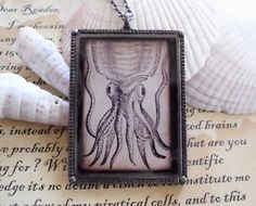 Cuttlefish - Antique Nautical Print Necklace w/ Chain - Squid - Octopus