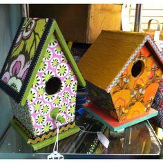 Decoupage birdhouses by LottieandDottie