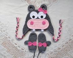 HIppo Crochet Hat and Mitten Set  Photo Prop  by BusterBrowns