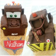 Mater cake - #birthday #cake for #boy - #disney #cars - #mater #tow #truck from #KCbakes4U