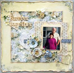 Layout: Forever Together**Flying Unicorn Feb KOM** Vintage Scrapbook, Diy Scrapbook, Scrapbook Pages, Scrapbook Layouts, Scrapbooking Ideas, Scrapbook Examples, Key To My Heart, Paper Hearts, Forever