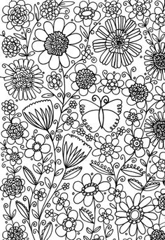 Butterfly In Garden Coloring Page Nature Coloring Pages Coloring
