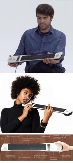 The Artiphon INSTRUMENT 1 is a single device that can be played as a guitar, piano, drum pad, synthesizer, and many other instruments. By connecting the INSTRUMENT 1 to smartphones, tablets, and computers, people of all skill levels can choose from an always-expanding palette of sounds.