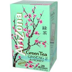 AriZona, Green Tea, Ginseng & Honey, 20 Tea Bags, 1.09 oz (30 g) - iHerb.com. Bruk gjerne rabattkoden min (CEC956) hvis du vil handle på iHerb for første gang. Da får du $5 i rabatt på din første ordre (eller $10 om du handler for over $40), og jeg blir kjempeglad, siden jeg får poeng som jeg kan handle for på iHerb. :-)