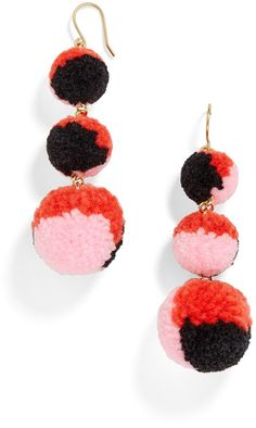 Multi Pom Pom Crispin Ball Drop Earrings