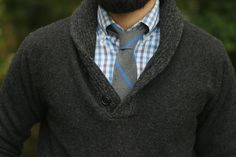 Shawl collar grey jersey with check shirt and knit tie