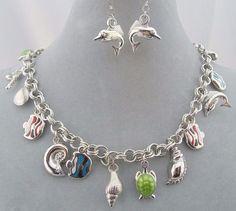 Silver Sea Life Charm Necklace Set Fish Turtle Lobster Fashion Jewelry New #DaVinci