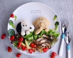 Charlie & Snoopy food art by @foodmakesfun