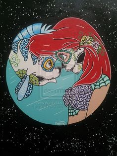 Sugar Skull Ariel and Flounder - This is beautiful! <3