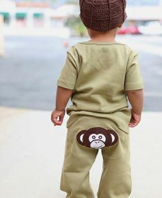 Olive 'Monkey' Knit Crawler - comes in the sizes 6-12 Months, 12-18 Months and 18-24 Months. http://fairytails.kiwi.nz/collections/boys/products/olive-monkey-knit-crawler