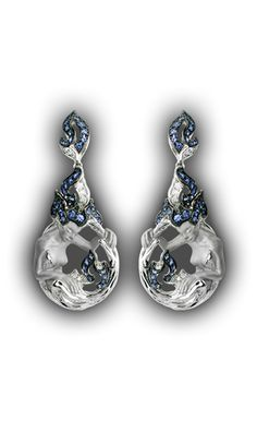 Earrings Diosa AR 1151.14ZB     White Gold 18KT, Diamonds and Blue Sapphires #Magerit #FireCollection #jewels